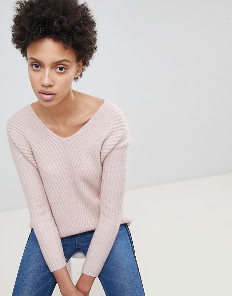 Stradivarius rib v neck sweater in pink - Sweater by Stradivarius, Ideal for layering, Ribbed...