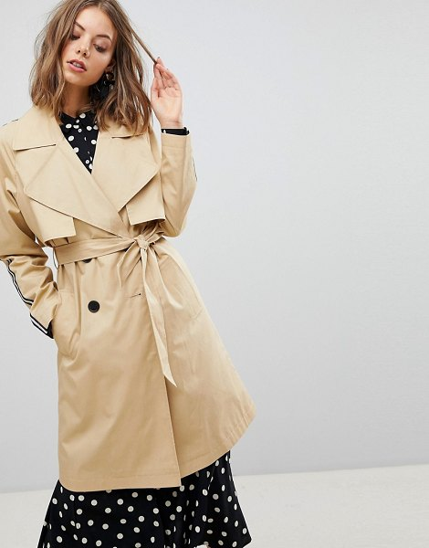 Stradivarius trench trench with side stripe-beige in beige