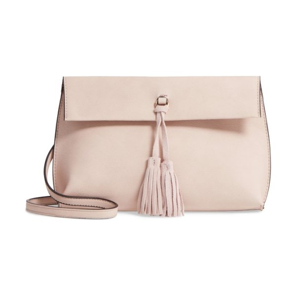 Street Level faux leather tassel tote in blush - A swingy tassel centers the flap closure of a...
