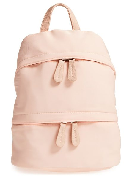 Street Level faux leather trim backpack in blush - Sleek and sporty, this roomy backpack features...