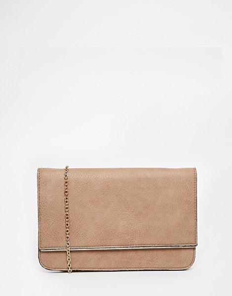 Street Level Foldover clutch bag in taupe - Cart by Street Level Matte faux leather Front flap,...