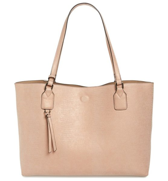 Street Level snake embossed faux leather tote in nude - A roomy faux leather tote with an exotic snake-embossed...