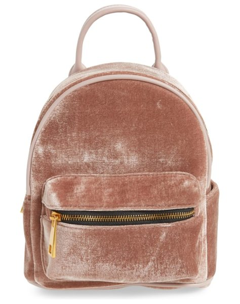 STREET LEVEL velvet backpack in blush - Celebrate back-to-school season in style (even if you're...