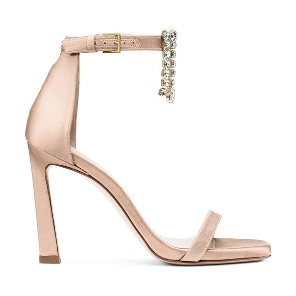 Stuart Weitzman 100Fringesquarenudist in blush light beige silk satin - Most-wanted minimalist sandals get a sculptural update...