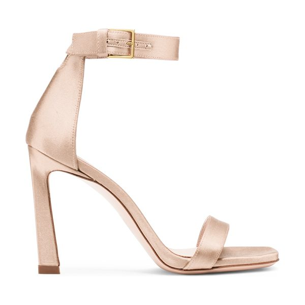Stuart Weitzman 100Squarenudist in blush light beige silk satin - The 100SquareNudist sandals, inspired by the iconic...