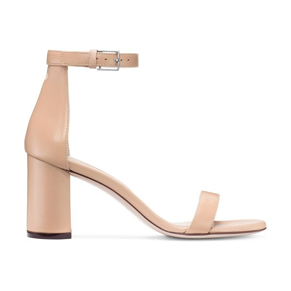 Stuart Weitzman 75Lessnudist in beige nappa leather - Defined by a rounded geometric heel, the 75LessNudist...