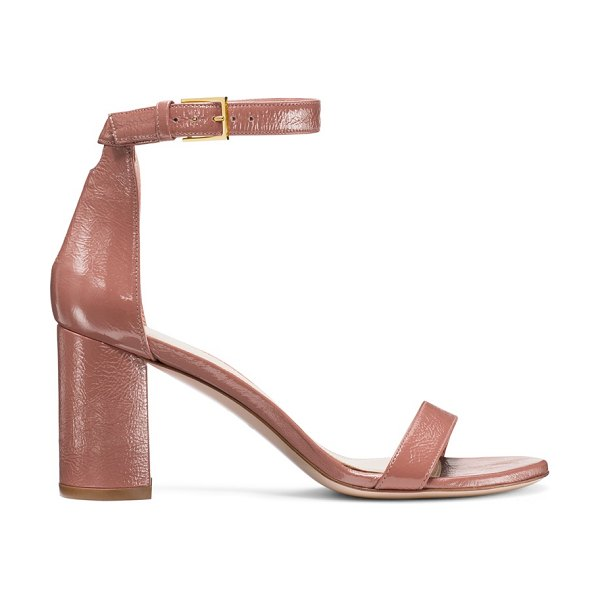 Stuart Weitzman 75Lessnudist in rose clay pink leather - Defined by a rounded geometric heel, the 75LessNudist...