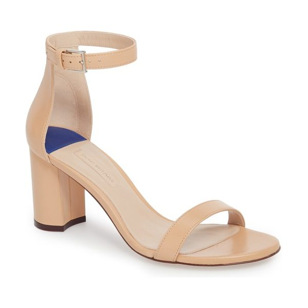 Stuart Weitzman 75lessnudist ankle strap sandal in beige - A fan-favorite sandal gets a trend-forward update with a...