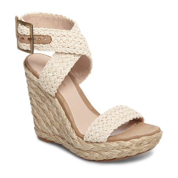 Stuart Weitzman adventure wedge sandal in beige crochet - Woven straps crisscross at the ankle on chic platform...