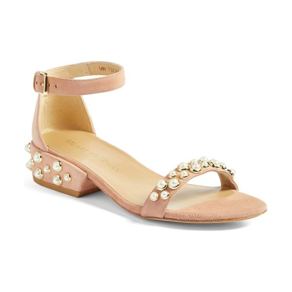Stuart Weitzman allpearls ankle strap sandal in naked suede - Imitation pearls dot the vamp and heel of a lavish suede...
