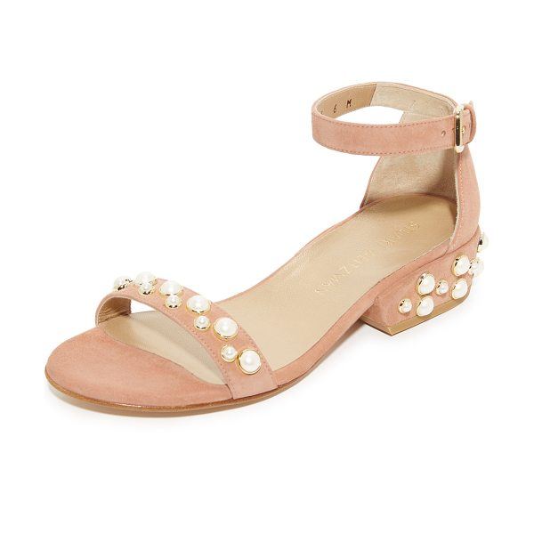 Stuart Weitzman allpearls sandals in naked - Imitation pearls add an elegant touch to these suede...