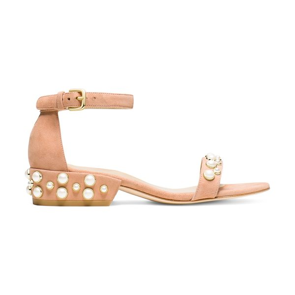 Stuart Weitzman Allpearls in naked pink beige suede - All about embellishments? Then you'll be all about the...