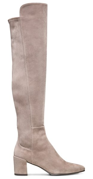 Stuart Weitzman Allwayhunk in taupe suede - These block heel just-over-the-knee boots are fabulous...