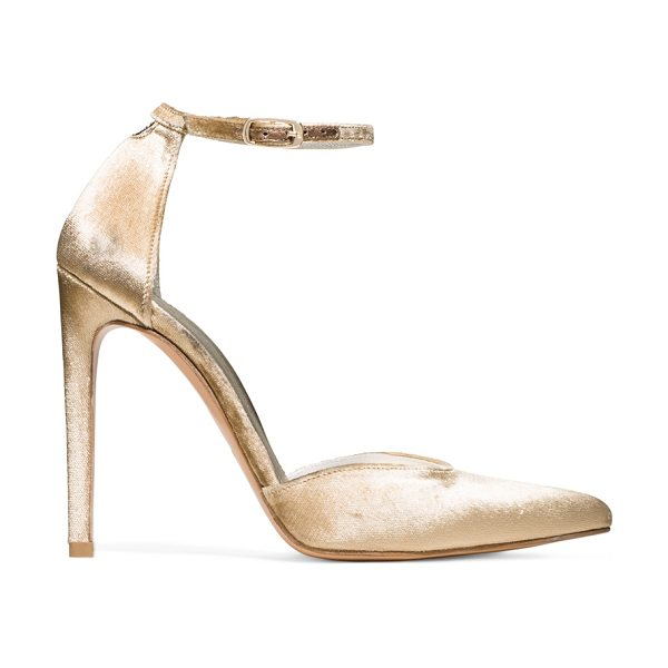 Stuart Weitzman Alterego in gilt gold velvet - Classic pointed-toe pumps get the bombshell treatment...