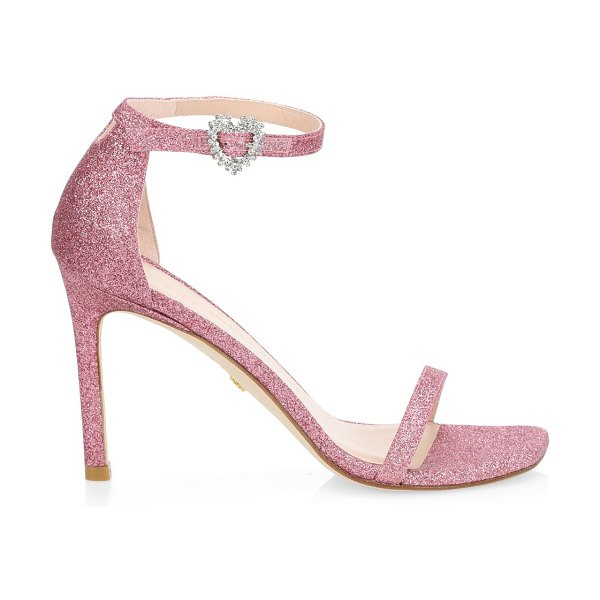 Stuart Weitzman amelina embellished glitter leather sandals in india pink
