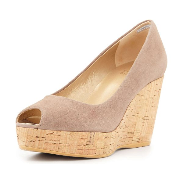 "Stuart Weitzman Anna peep toe wedge pump in haze - Stuart Weitzman suede pump. 3. 25"" cork wrapped wedge..."