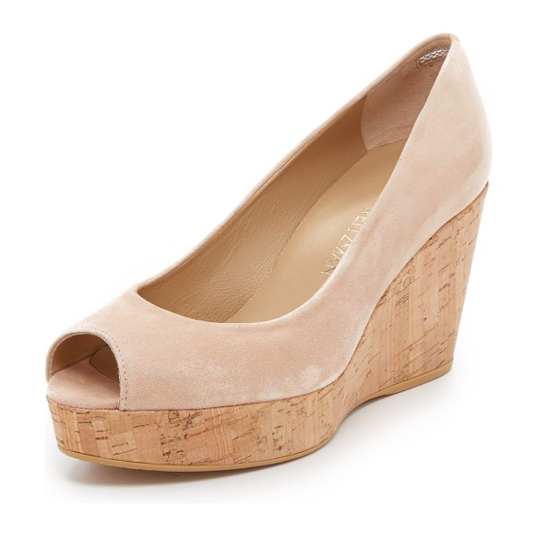 STUART WEITZMAN Anna peep toe wedges in bisque - A cork wedge and platform bring natural beauty to these...