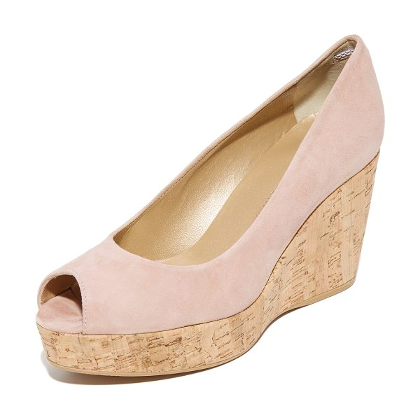 Stuart Weitzman anna peep toe wedges in bisque - A cork wedge and platform bring natural appeal to these...
