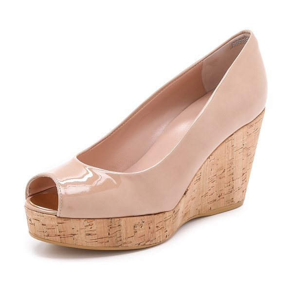 Stuart Weitzman Anna peep toe wedges in adobe - A cork wedge and platform bring natural beauty to these...