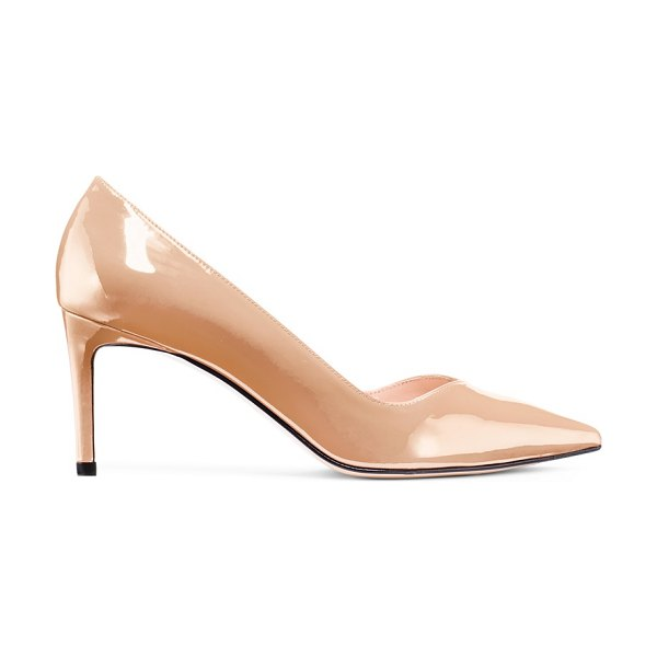 Stuart Weitzman anny 70 in adobe beige patent leather