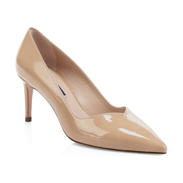 Stuart Weitzman anny patent leather point toe pumps in adobe - An ultra-sharp point toe adds edgy appeal to these...