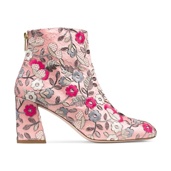 Stuart Weitzman Bacarislope in rose pink embroidered fabric - Booties go bold in the BACARISLOPE. These embroidered...