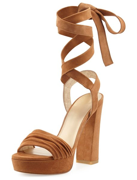 "Stuart Weitzman Backagain Suede Lace-Up Sandal in light brown - Stuart Weitzman suede sandal. 5"" covered block heel; 1""..."