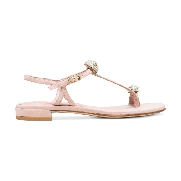 Stuart Weitzman Ballsoffire in rose suede - Show off your sparkle in these embellished sandals....