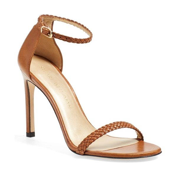Stuart Weitzman barebraid ankle strap sandal in cognac nappa - Stuart Weitzman's fan-favorite Nudist sandal is revamped...