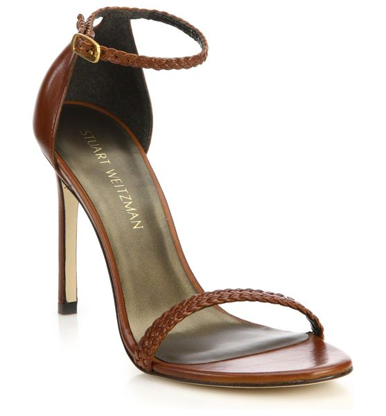Stuart Weitzman Barebraid nudistsong leather sandals in cognac