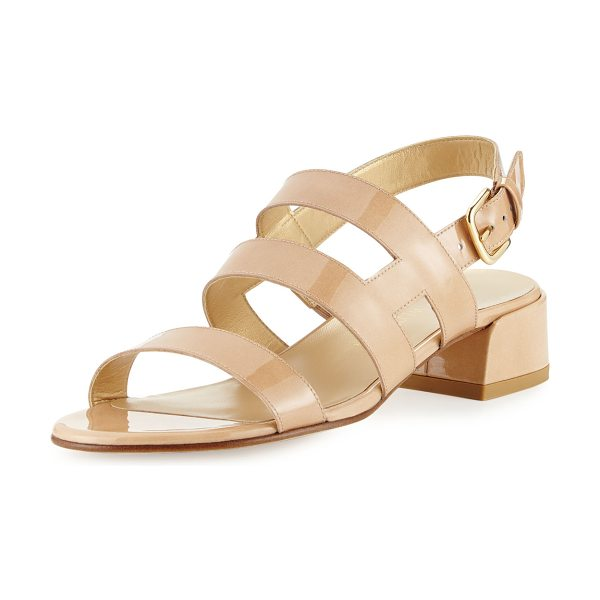"Stuart Weitzman Barrio Patent Slingback Sandal in adobe - Stuart Weitzman patent leather sandal. 1.5"" covered..."