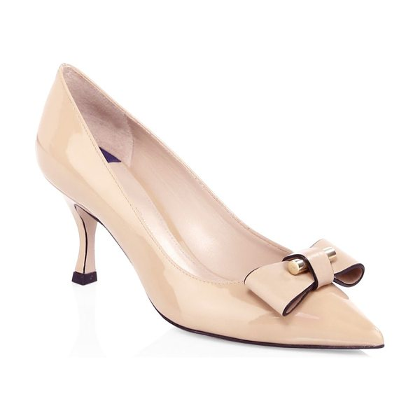 Stuart Weitzman belle bow leather pumps in adobe - Sleek leather pumps with bow detail on toe Self-covered...