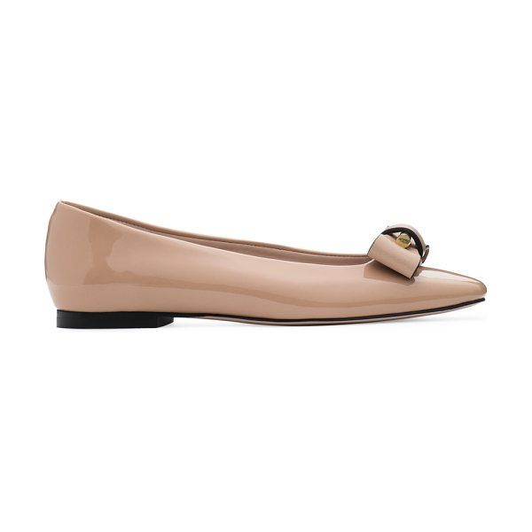 Stuart Weitzman Belle in adobe beige patent leather - The patent leather Belle Flats put their own spin on...
