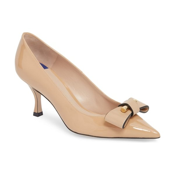 Stuart Weitzman belle pointe bow pump in beige