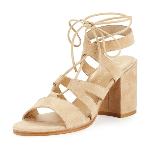 Stuart Weitzman Bigtiegirl Suede Lace-Up Sandal in beach (nude) - Stuart Weitzman suede sandal with leather trim. 3.3...