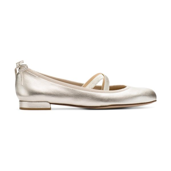 Stuart Weitzman Bolshoi in pearl nappa leather - Raise the barre in modern ballet flats, distinguished...
