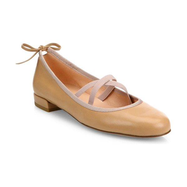 Stuart Weitzman bolshoi leather ballet flats in nude - Leather ballet flat with crisscross straps and back tie....
