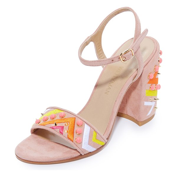 Stuart Weitzman both sandals in naked - Vibrant, colorful embroidery and cabochons trim the vamp...