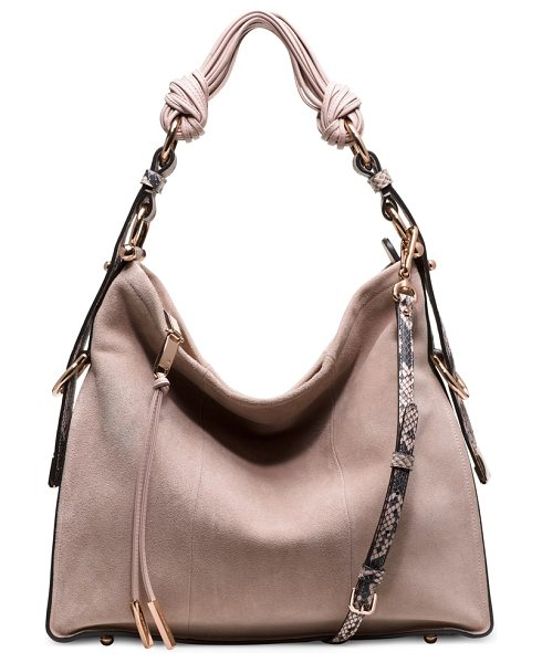 Stuart Weitzman Brigitte in light pink suede python - The BRIGITTE hobo bag captures the elegant interplay of...