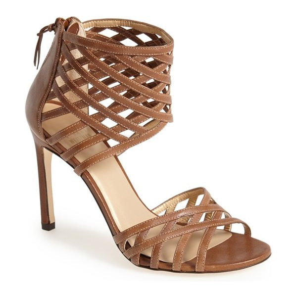 Stuart Weitzman cajun leather sandal in toffee nappa