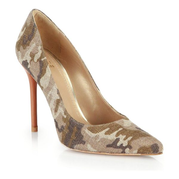 STUART WEITZMAN Camo-printed linen point-toe pumps - Camo goes wild on these glam point-toe pumps with a...