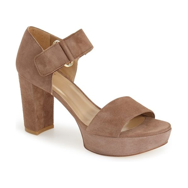 Stuart Weitzman causeway platform sandal in haze suede - A lofty platform and block heel bring on the '90s appeal...