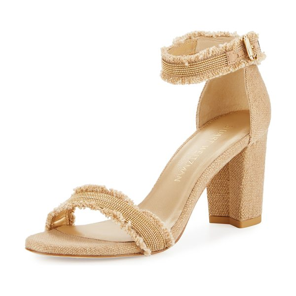 "STUART WEITZMAN Chaingang Fringe City Sandal - Stuart Weitzman linen city sandal with chain trim. 3.3""..."