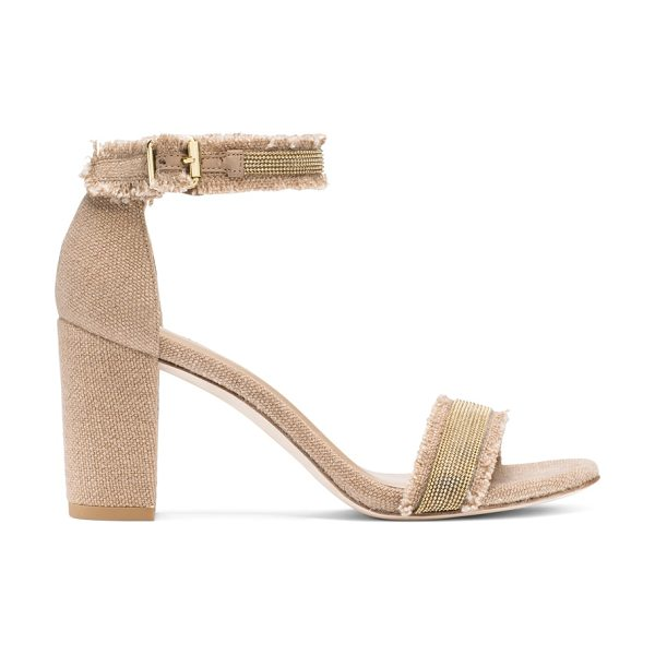Stuart Weitzman Chaingang in tan linen - These single-sole sandals are revamped with a block heel...