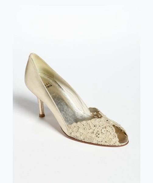 Stuart Weitzman chantelle pump in gold - Elegant lace fashions the dipped vamp of a romantic...