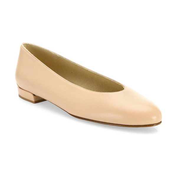 Stuart Weitzman chicflat leather ballet flats in shell - Minimalist leather flat with distinctive high-cut toe...