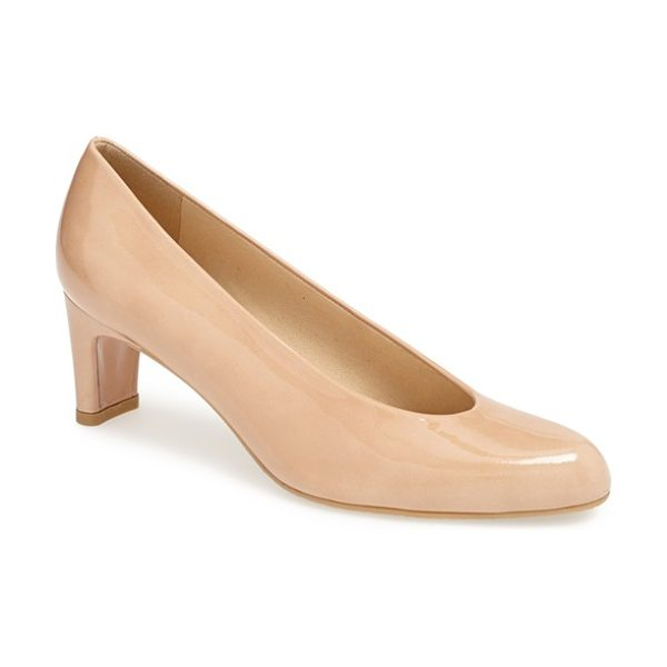 Stuart Weitzman chicpump pump in adobe patent - Soft suede leather highlights the vintage silhouette of...