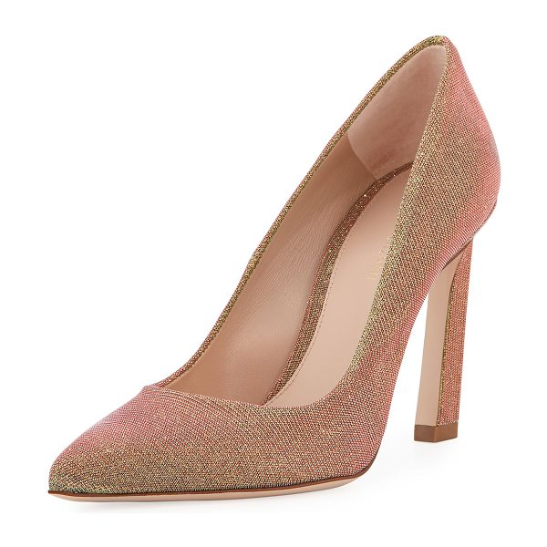 "Stuart Weitzman Chicster Sparkle Point-Toe Pump in gold - Stuart Weitzman lam fabric pump. 3.8"" angled heel...."