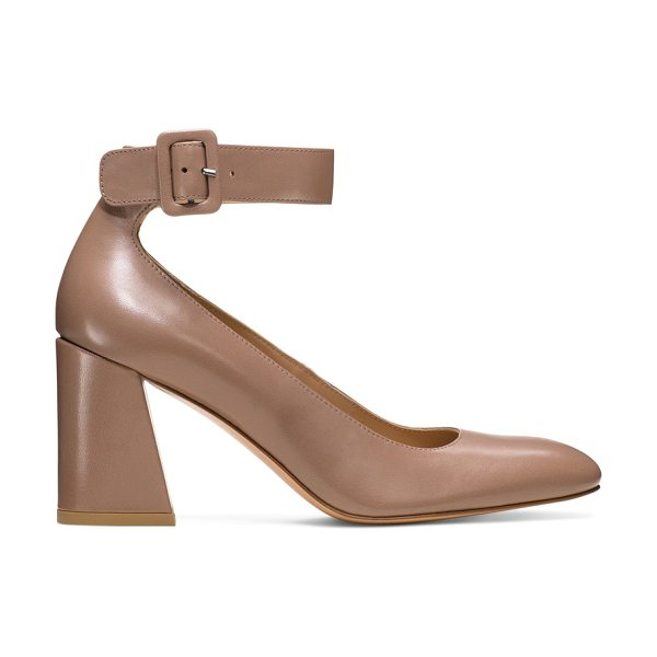 Stuart Weitzman Clara in mouse beige nappa leather - Practice proportion control with these Sixties-inspired...