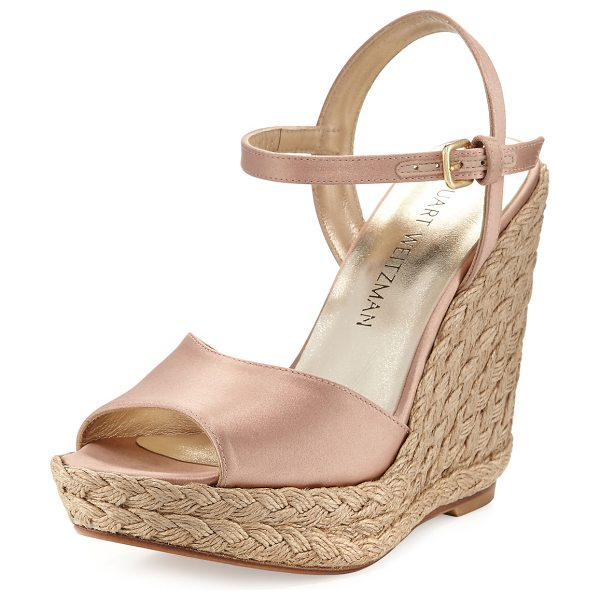 Stuart Weitzman Clean Satin Wedge Espadrille Sandal in adobe - EXCLUSIVELY AT NEIMAN MARCUS Stuart Weitzman satin...